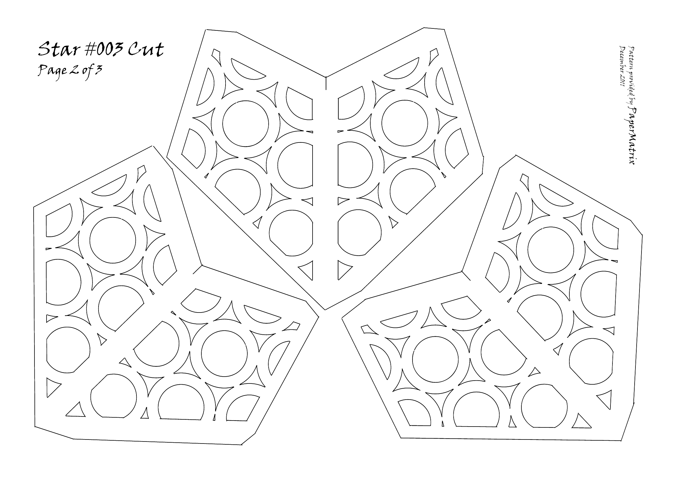 Star 003 cut papermatrix for Paper star cut out template
