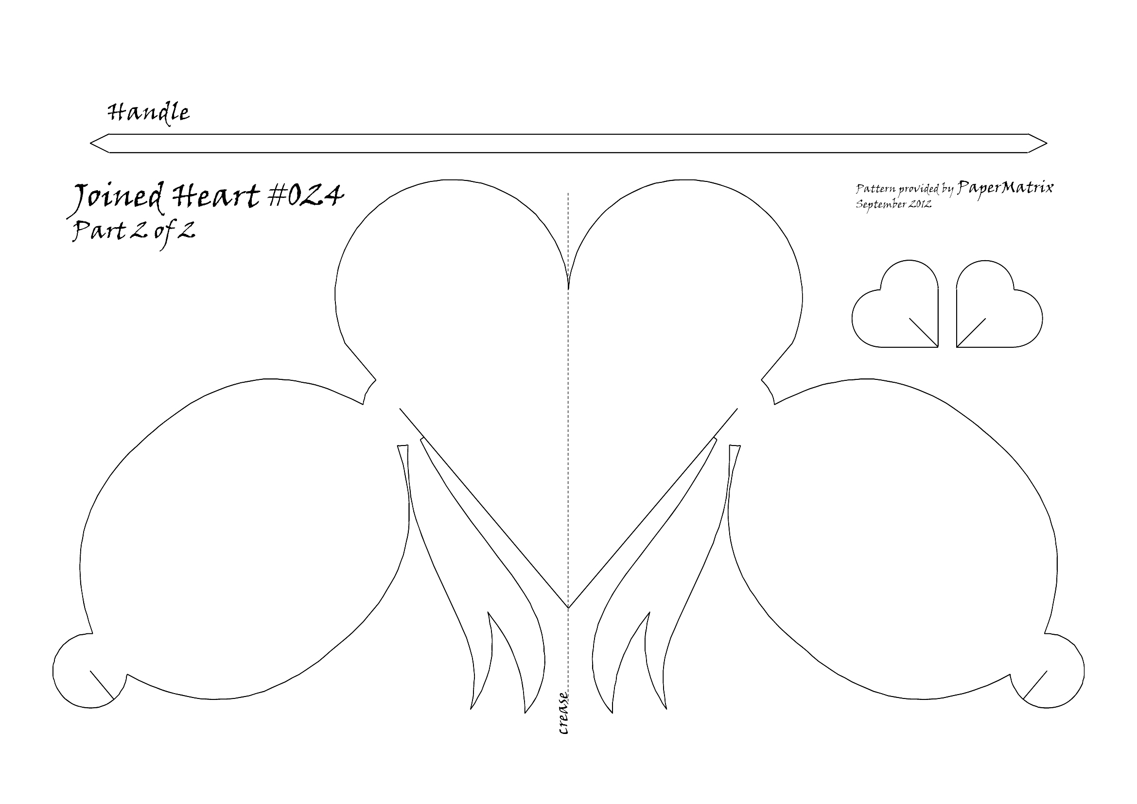 Joined Basket #024 Bow Heart | PaperMatrix